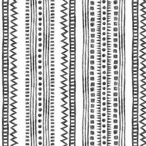 crayon mudcloth - black and white