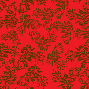 Damask Gold on Red
