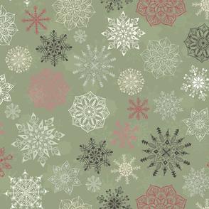Christmas Snowflakes on Dark Green