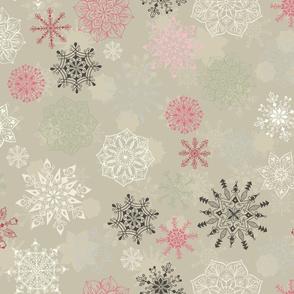 Christmas Snowflakes on Light Green