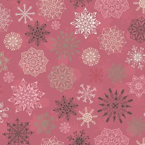 Christmas Snowflakes on Pink