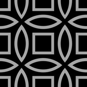 Geometric Pattern: Intersect Outline: Black/Silver