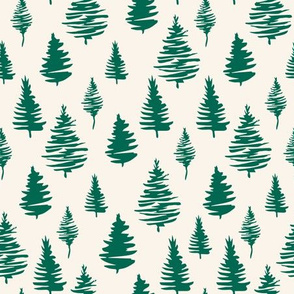 Green Christmas trees seamless pattern for New Year wrapping paper and gift designs