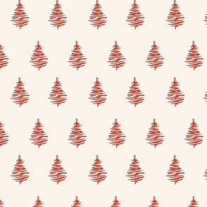 Red Christmas trees on  pastel beige seamless pattern for New Year wrapping paper and gift designs.