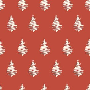 Red Christmas trees seamless pattern for New Year wrapping paper and gift designs