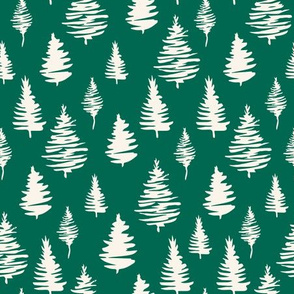Fir tree vector seamless pattern on green