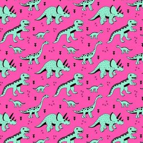 Cool Scandinavian kids dino friends dinosaur pattern girls hot pink mint SMALL