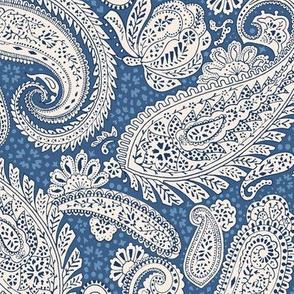 Small Paisley Positivity blue tones beige
