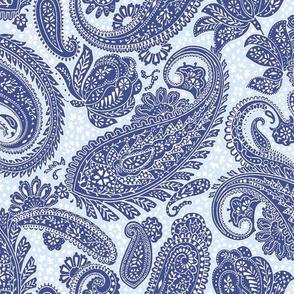 Small Paisley Positivity dark blue light blue