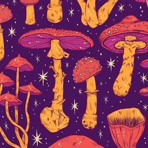 Deadly Mushrooms Orange on Purple