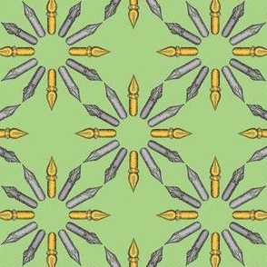 Dip Pen Nibs Circle (Green, Yellow and Gray) – Small Scale