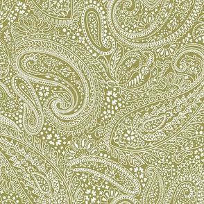 small Paisley Positivity olive white