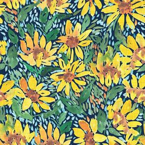 Expressive sunflowers - navy