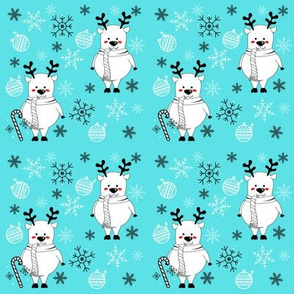 Turquoise Reindeer With Candy Cane