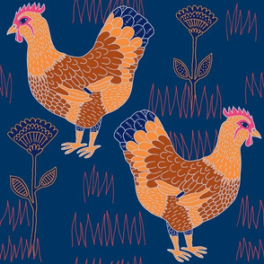 "Chickens (12"") - blue"