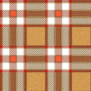 Tan and Peach Fuzzy Plaid