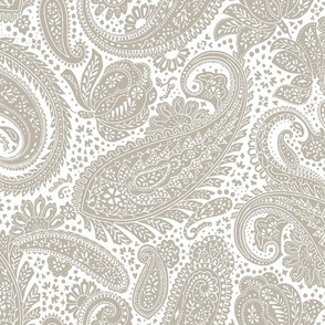small Paisley Positivity white and mushroom color