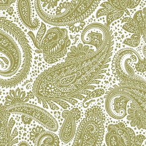 small Paisley Positivity white olive