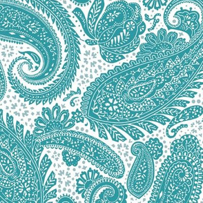 small Paisley Positivity white teal
