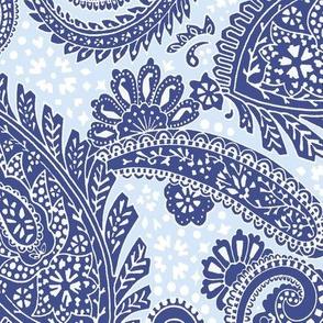 large Paisley Positivity dark blue light blue