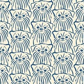 Brussels Griffon Portrait Pattern (Beige and Blue) – Small Scale