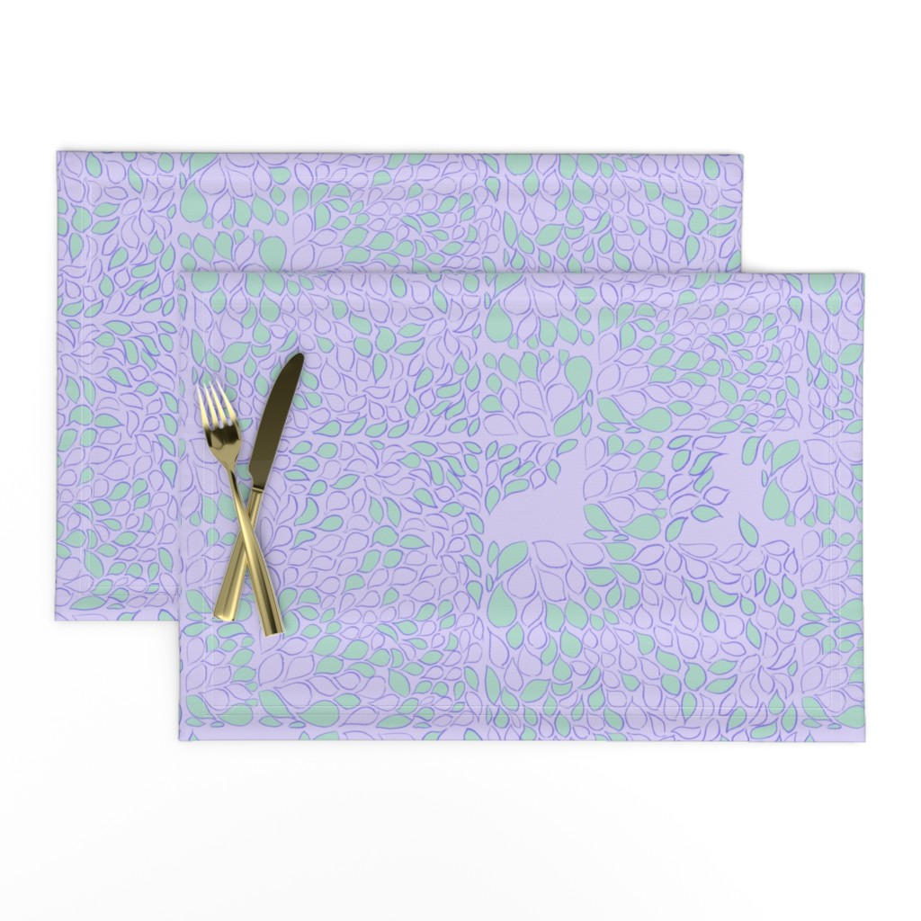 Lamona Cloth Placemats featuring Tiny Leaves Orchid Verdigris by dorothyfaganartist