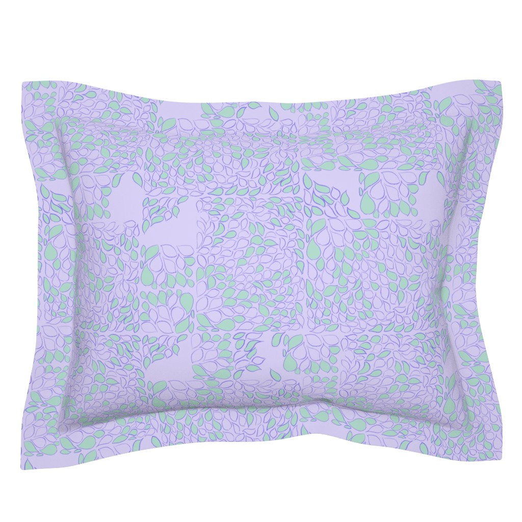 Sebright Pillow Sham featuring Tiny Leaves Orchid Verdigris by dorothyfaganartist