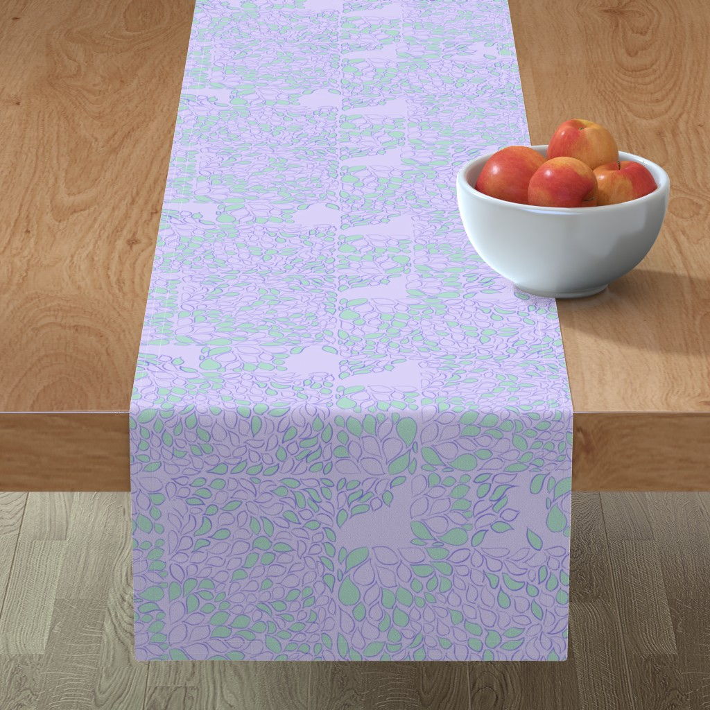 Minorca Table Runner featuring Tiny Leaves Orchid Verdigris by dorothyfaganartist