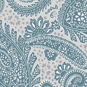 large Paisley Positivity muted teal grey tones