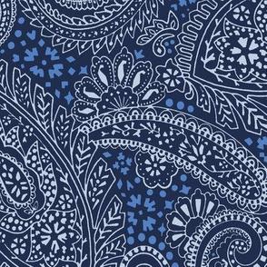large Paisley Positivity indigo blue tones