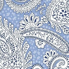 large Paisley Positivity light blue white