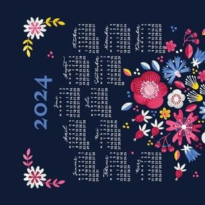German 2022 Calendar, Monday / Folksy Bouquet