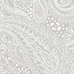 large Paisley Positivity light grey white