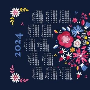 2022 Calendar, Sunday / Folksy Bouquet