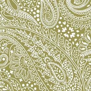 large Paisley Positivity olive white