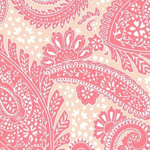 large Paisley Positivity red peach white