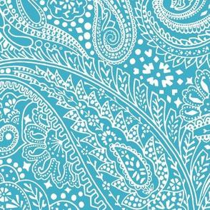 large Paisley Positivity turquoise white