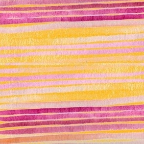 Ombre Watercolor Stripes -  Pink on Yellow