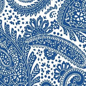 large Paisley Positivity white dark blue
