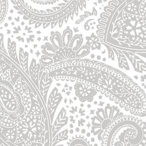 large Paisley Positivity white light grey
