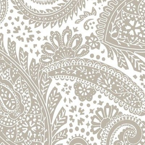 large Paisley Positivity - white and mushroom color