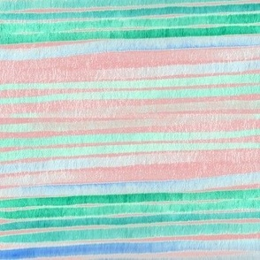 Ombre Watercolor Stripes - Blue on Pink