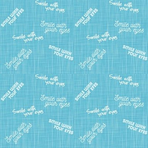 smile with your eyes turquoise linen texture - face mask design
