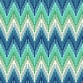 Coastal chevron ikat style nautical blue green Wallpaper Fabric