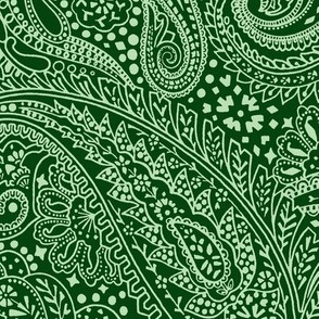 large Paisley Positivity green tones