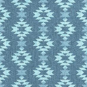 Vintage linen burlap worn blue Aztec Wallpaper Fabric