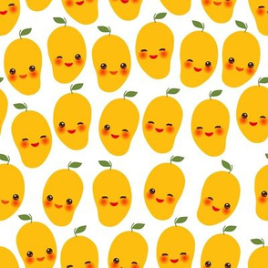 cute Kawaii orange mango with wink eyes and pink cheeks, isolated on white background trend of the season.