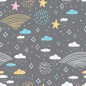 magic tale gray pattern abstract scales, rain, sky clouds stars, simple Nature doodle lines scandinavian style. Nursery decor trend of the season white yellow pink on gray background. Vector illustration