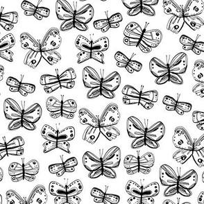 butterflies. sketch freehand drawing doodle lines scandinavian style grunge texture. Nursery decor trend