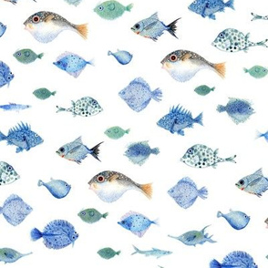 Blue Watercolor Fishes